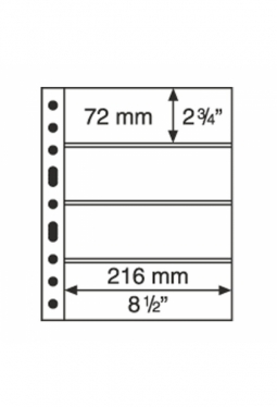 Kunststoffhüllen GRANDE, 4er-Einteilung, 50er Pack glasklar
