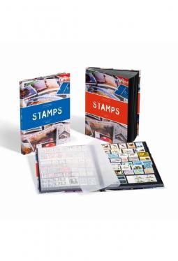 Einsteckbuch STAMPS DIN A4, 32 schwarze Seiten, rote Banderole